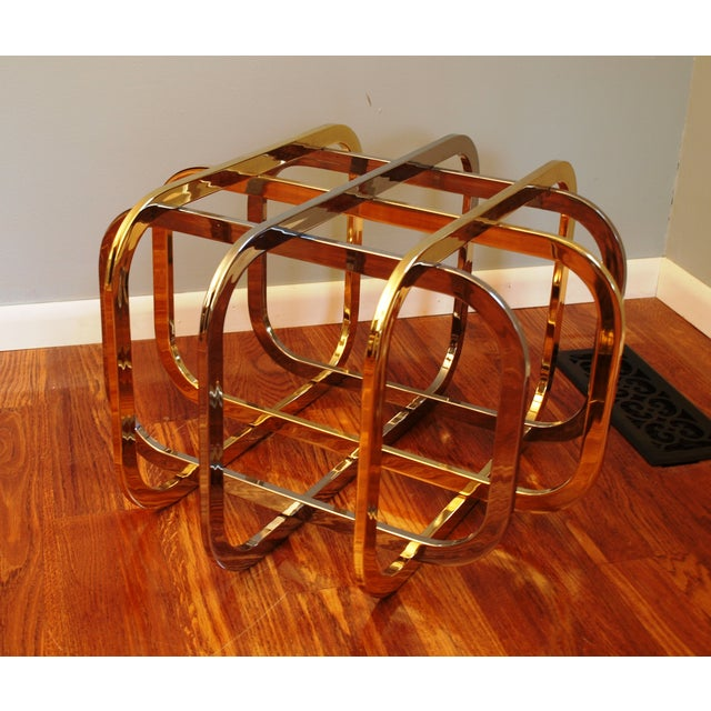 Vintage Chrome & Brass Glass Top Coffee Table - Image 8 of 8