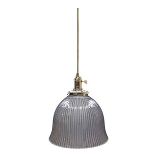 Antique Glass Holophane Pendant Light