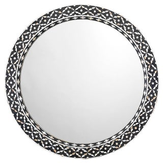 Evelyn Mother of Pearl Shell Black & White Mirror