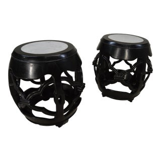 Chinese Ebony Drum Tables with Inlaid Marble Tops - A Pair