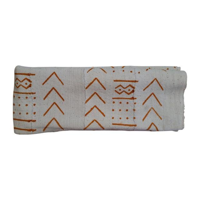"""Image of Cream & Orange Vintage Mudcloth Fabric - 43"""" X 63"""""""