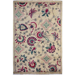 """Suzani, Hand Knotted Area Rug - 4' 0"""" x 6' 1"""""""