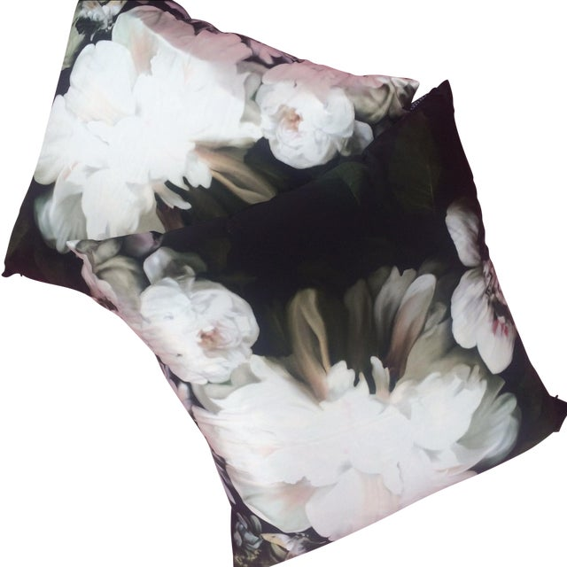 Silk Floral Print Pillows by Ellie - Pair - Image 1 of 5