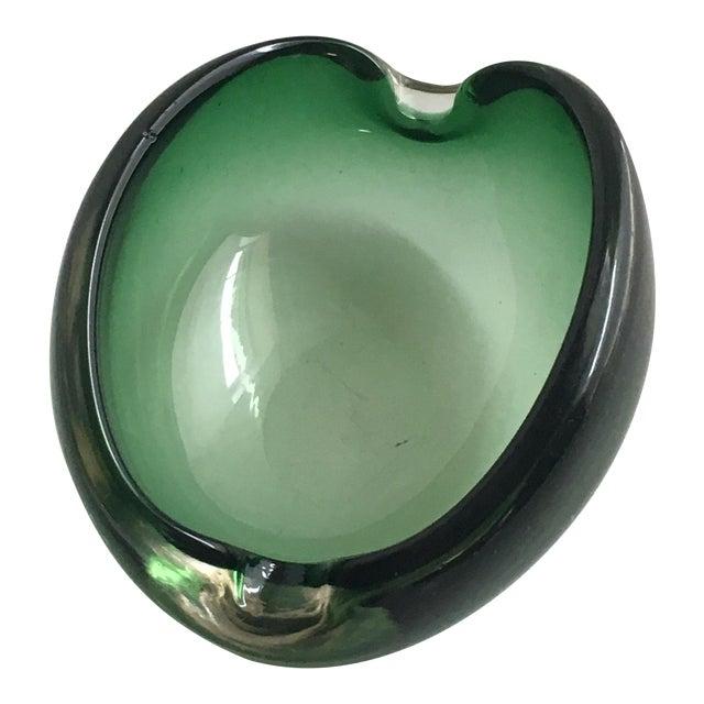 Alfredo Barbini Murano Glass Green Ashtray - Image 1 of 7