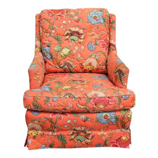 Henredon Chinoiserie Fabric Upholstered Lounge Armchair