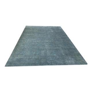 Hand Knotted Green Blue Grey Wool and Silk Rug - 10' x 14'