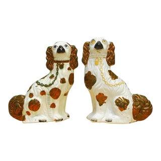 English Staffordshire Porcelain Spaniels - a Pair