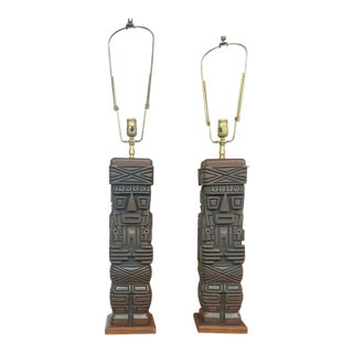 Wooden Hawaii Totem Pole Table Lamps - a Pair