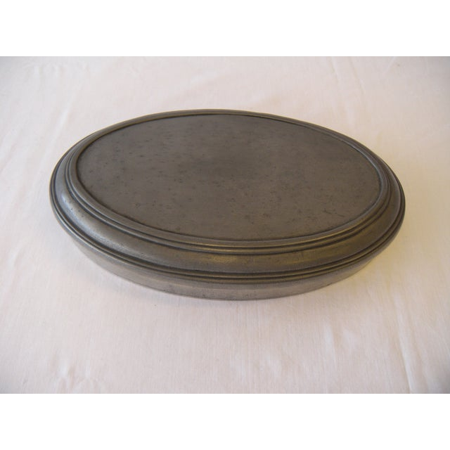 Image of Vintage Italian Pewter Oval Lidded Container