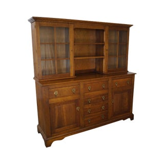 Stickley Solid Cherry 2 Piece Hutch China Cabinet