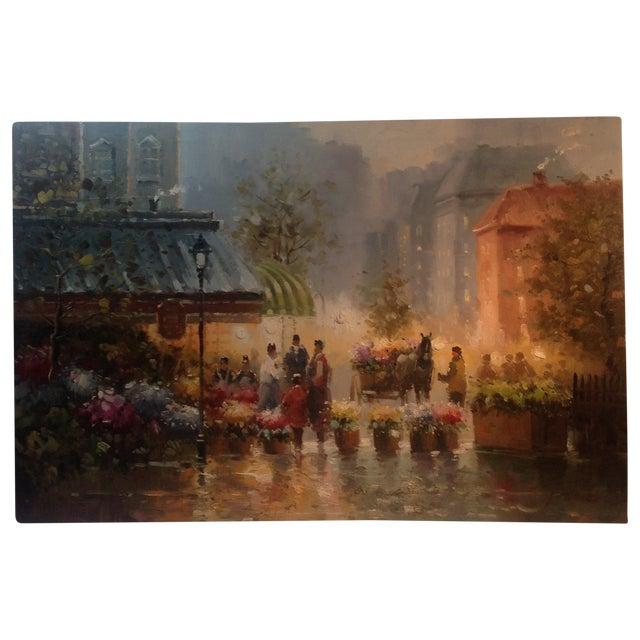 Fresh Flowers Parisian Street Scene Oil on Canvas - Image 1 of 3