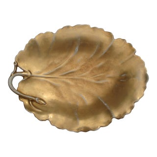 Antique French Porcelain Gilt Grape Leaf Platter