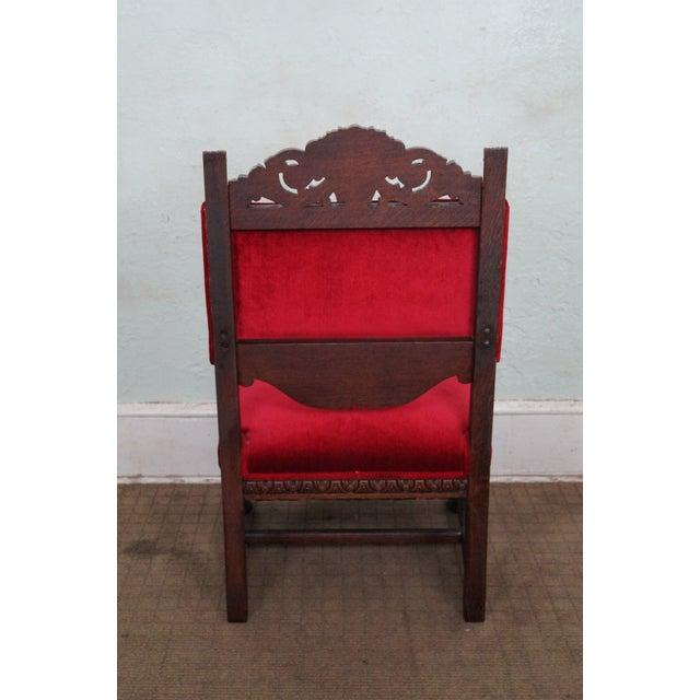 Antique Lion Head Solid Oak Renaissance Arm Chair - Image 4 of 10