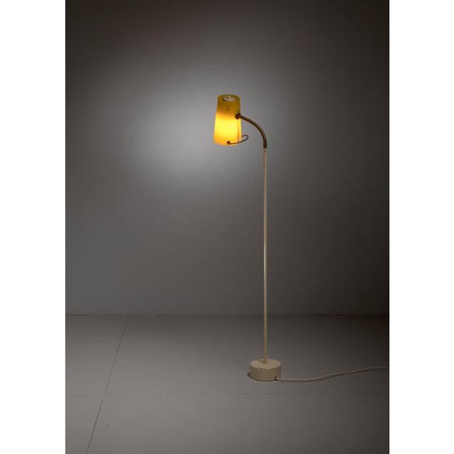 Scandinavian Modern Floor Lamp with Yellow Plexiglass Adjustable Shade, 1950s - Image 3 of 6