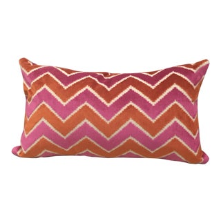 Brunschwig & Fils Pink Orange Velvet & Pollack Persimmon Pillow