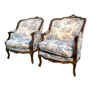 Antique Louis XV Toile Bergère Chairs - A Pair