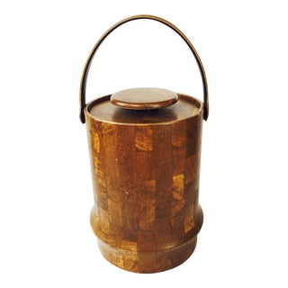 Mid-Century Leather Wrapped Ice Bucket