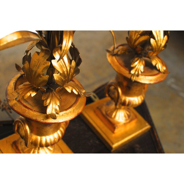 Image of Hollywood Regency Gilt Urn Table Lamps - Pair