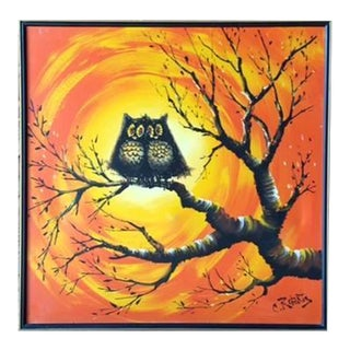 Mid-Century Owl Painting by C.Roberts