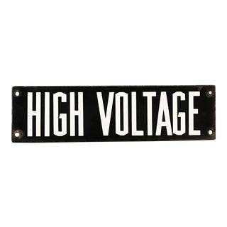 Vintage Industrial Enamel High Voltage Sign