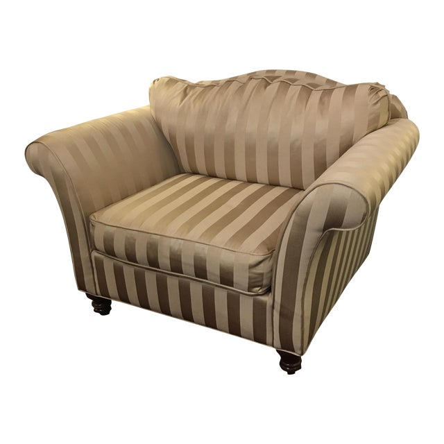 Z- Gallerie Upholstered Striped Cream Chair - Image 1 of 8