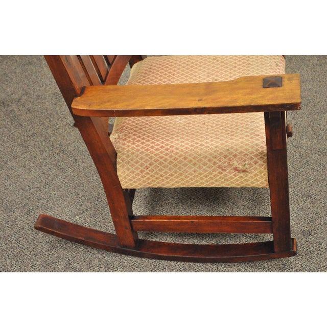 Antique Solid Maple Mission Arts & Crafts Rocker Rocking Chair Stickley Era - Image 8 of 10