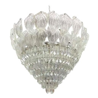 Monumental Murano Glass Leaf and Prism Chandelier