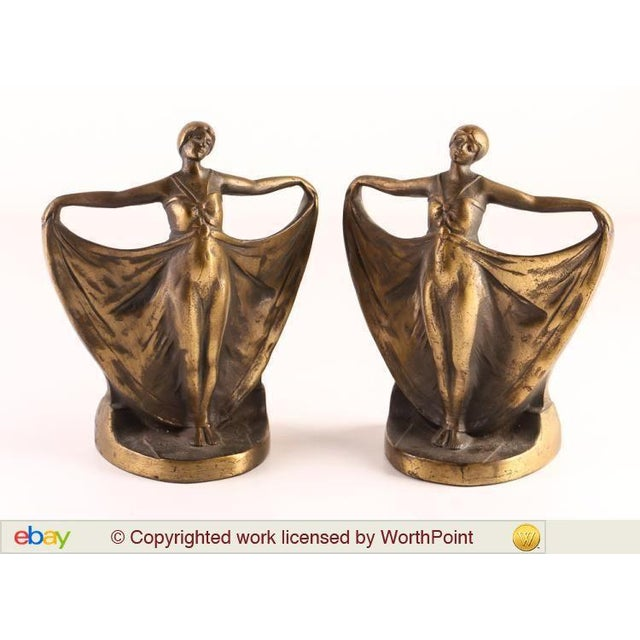 Image of Antique Art Deco Cast Iron Bookends - A Pair