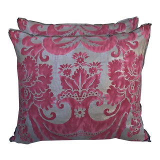 Pink & Gray Fortuny Pillows - A Pair