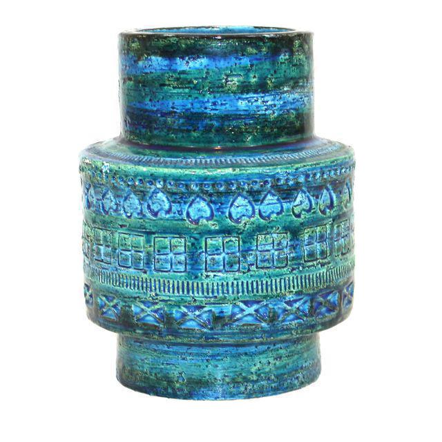 aldo londi for bitossi rimini blue pottery vase