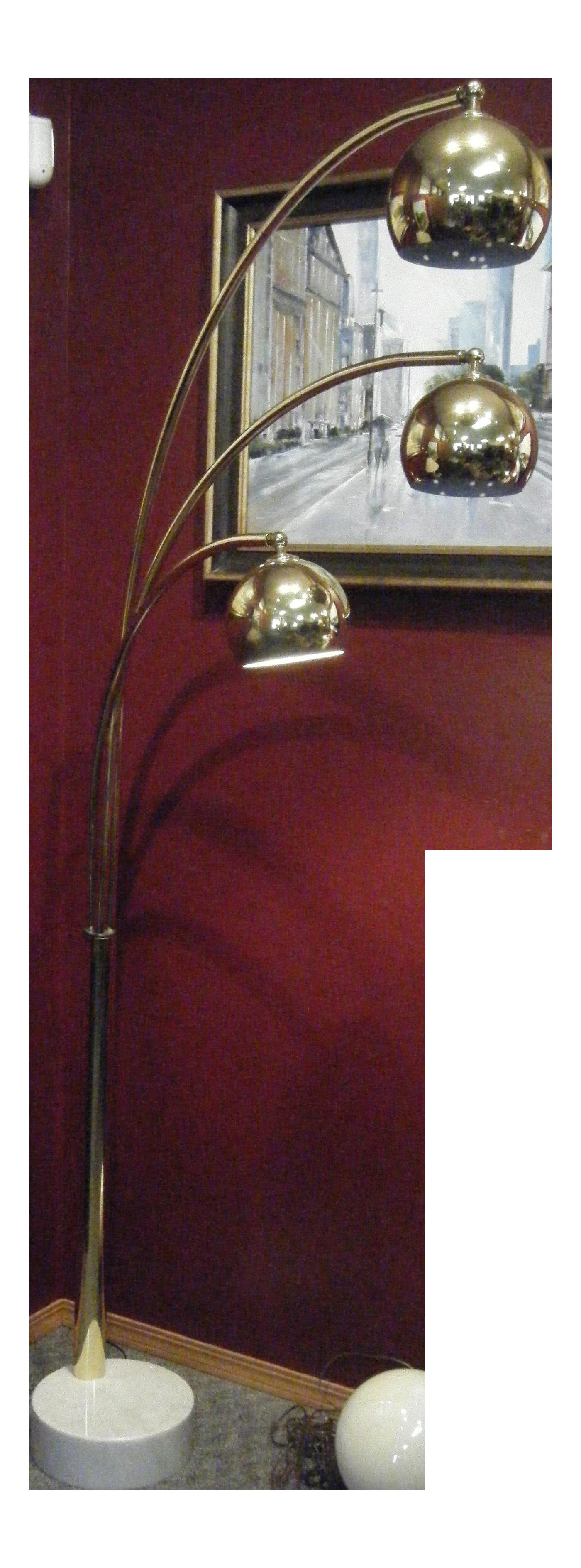italian midcentury modern atomic brass eyeball floor lamp image 1 of 11
