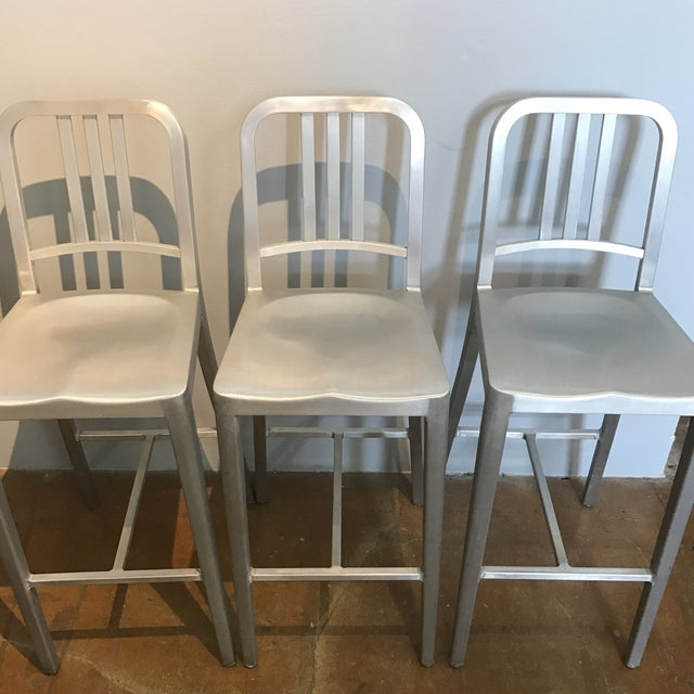 Image of Emeco Aluminum Bar Stools- Set of 3