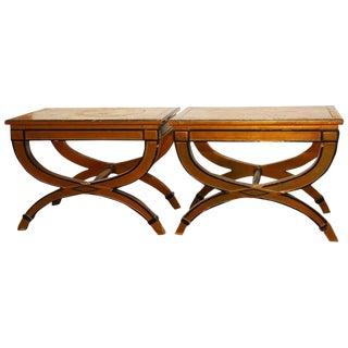 Drexel X-Form Gilt Benches - A Pair