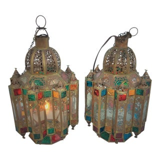 Moorish Multicolored Glass & Brass Lanterns - a Pair