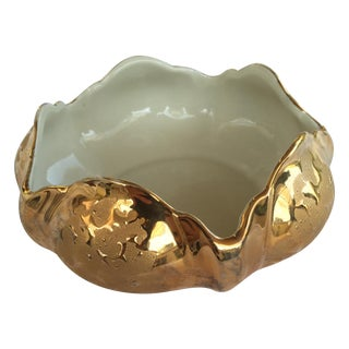 Mid-Century 22k Gold Kingwood Ceramic Bowl