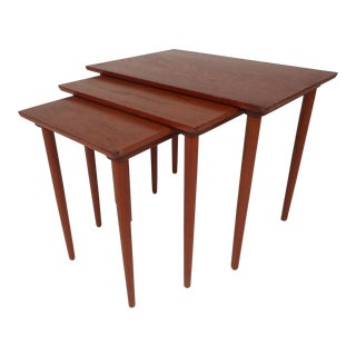 Vintage Modern Teak Nesting Tables by Bramin Mobler - Set of 3