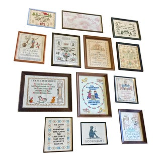 Vintage Cross Stitch Samplers- Set of 13