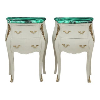 French Provencal Style Faux Malachite Nightstands - a Pair