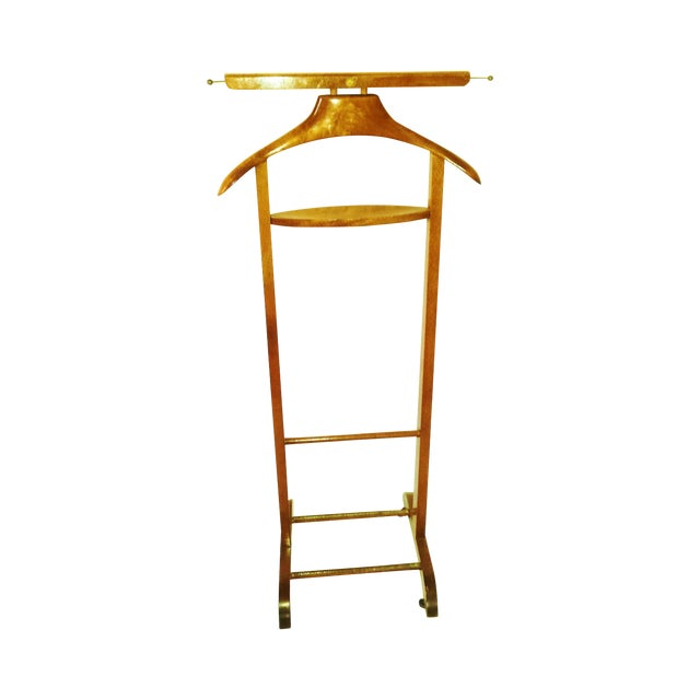 Mid-Century Italian Wooden Valet With Casters - Image 1 of 7