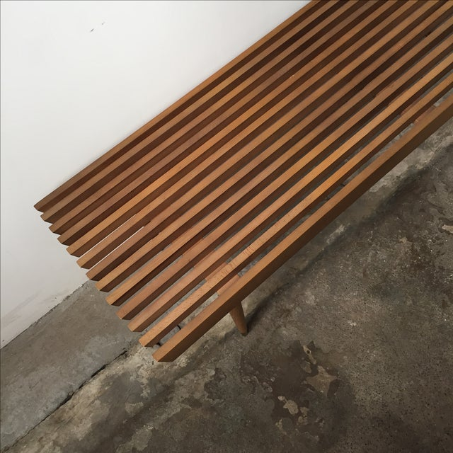 Mid-Century Yugoslavian Slat Bench With Peg Legs - Image 11 of 11