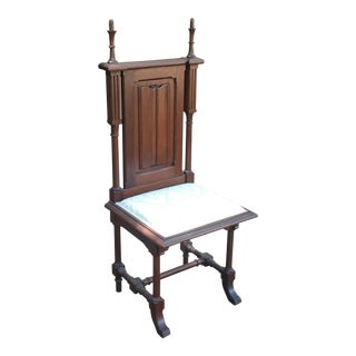 Antique Gothic Carved Wood Bishops Chair