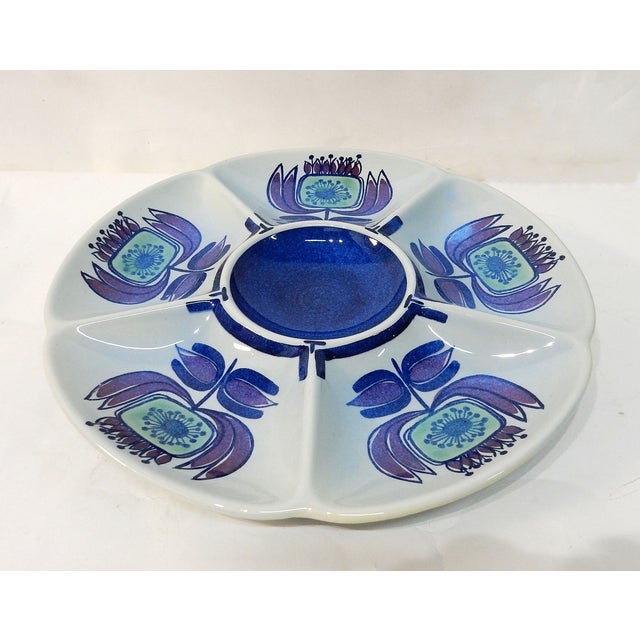 Image of Signed Porcelain Serving Plate With Compartments