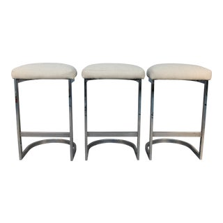 Chrome Cantilever Bar Stools - Set of 3