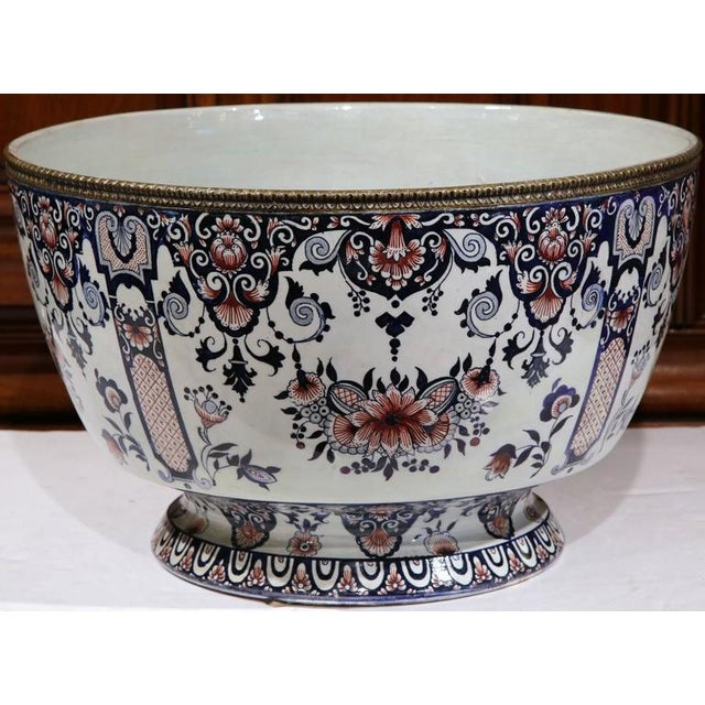 19th Century French Hand-Painted Faience Cachepot - Image 8 of 10