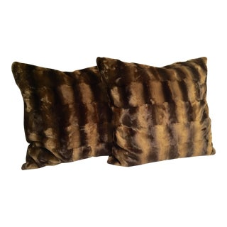 Contemporary Oversized Faux Mink Pillows - A Pair
