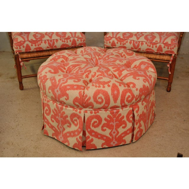 Ikat Upholstered Tufted Large Round Ottoman Chairish