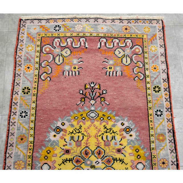 "Vintage Pastel Turkish Oushak Rug - 2'11"" x 5'4"" - Image 6 of 8"
