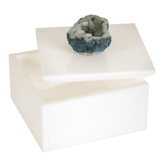 Image of White Box With Beryl Druzy Top - Small