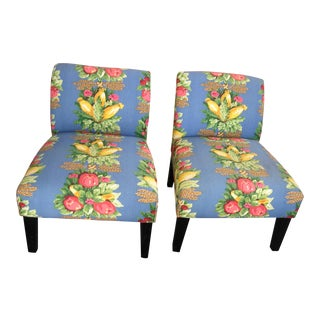 Waverly Fabric Upholstered Slipper Chairs - A Pair