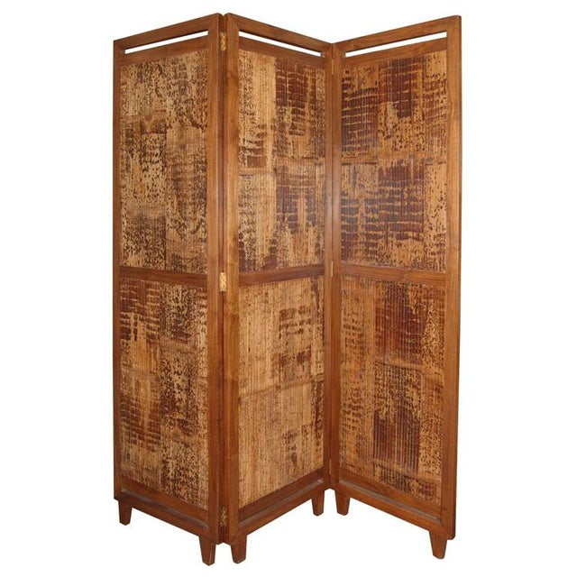 3 panel bamboo screen room divider chairish. Black Bedroom Furniture Sets. Home Design Ideas